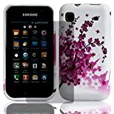 White Hot Pink Samsung Galaxy S GT-i9000 Flower / Floral Hydro Soft Solid TPU Silicone Print Gel Skins Mobile Phone Mobile Phone Case Cover With Free Ultra Clear LCD Screen Film Protector