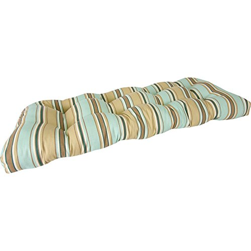 Jordan Manufacturing Jordan Manufacturing 44 x 18 Wicker Settee Cushion, Armona Aqua, All Other Materials photo