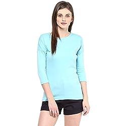 Hypernation Aqua Color Round Neck Cotton T-shirt For Women