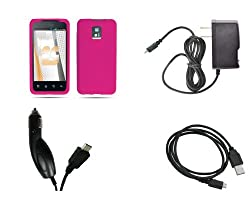 LG G2x (T-Mobile) Premium Combo Pack - Hot Pink Silicone Jelly Skin Case Cover + FREE Atom LED Keychain Light + Wall Charger + Car Charger + Micro USB Data Cable