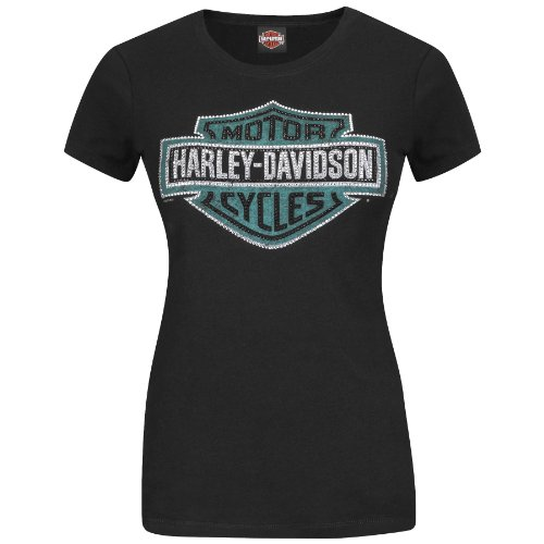 Harley-Davidson Womens Bling Shifter Rhinestone B&S Black Short Sleeve T-Shirt (Medium)
