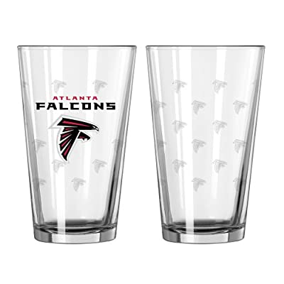NFL Atlanta Falcons Satin Etch Pint Glass Set (Pack of 2), 16-Ounce