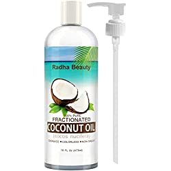 Fractionated Coconut Oil - 100% Pure carrier oil for essential oils, massage & aromatherapy - free PUMP + Ebook, 16 fl oz