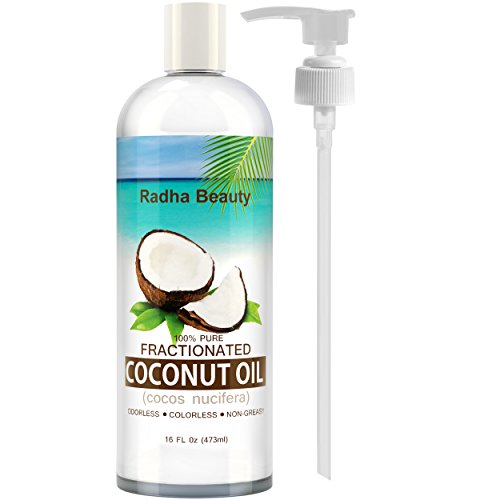 Fractionated Coconut Oil – 100% Pure carrier oil for essential oils, massage & aromatherapy – free PUMP + Ebook, 16 fl oz