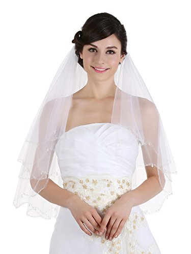 2T 2 Tier Scallop Beaded Edge Dangle Crystal Bridal Wedding Veil - Ivory Elbow Length 30