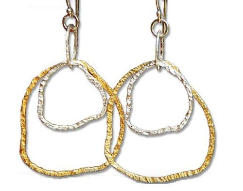 Two Tone (Silver and Yellow Gold) Squiggly Hoop Earrings