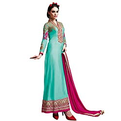 Look N Buy women's Unique Sea Green Coloured Embroidered Unstitched Georgette Dress Material With Dupatta