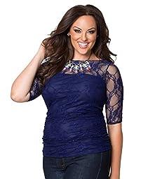 Kiyonna Women\'s Plus Size Smitten Lace Top 0X Royal Sapphire