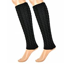 GMB New Super Soft Cable Knit Leg Warmers Long Socks in Dark Grey