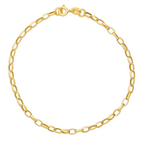 Miore 9ct Yellow Gold Hollow Oval Cable Rolo Chain Bracelet of 19.5cm MSIL926B