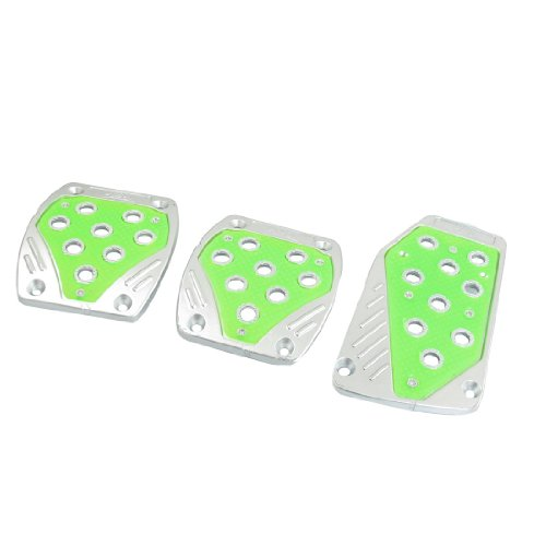 Amico Manual Car Replacement Nonslip Plastic Aluminum Pedal Set Green Silver Tone
