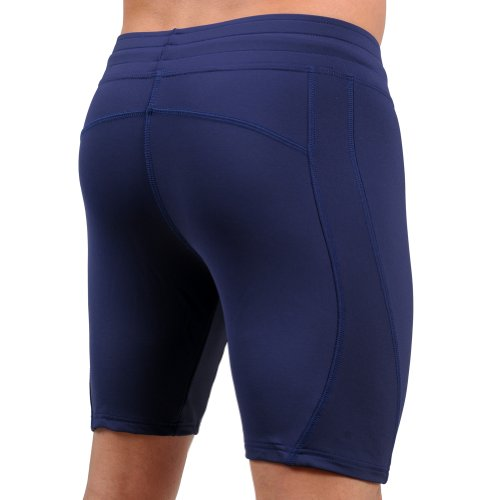Mens Navy Quick Drying Stretch Yoga Workout Short by Gary Majdell Sport Size X-Large