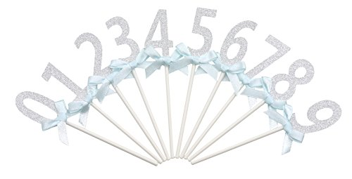 PuTwo Handmade 10 Counts Number 0 to 9 Birthday Wedding Cake Decorating Cupcake Toppers - gillter silver (Number Cake Topper compare prices)