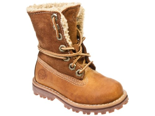 Timberland Authentics Shearling Toddler Kids Brown Leather Ankle Boots, 9.5