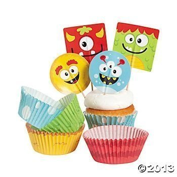 Bakery Supplies - Silly Monster Cupcake Picks and Baking Cups (2-Pack of 100) by Bakery Supplies