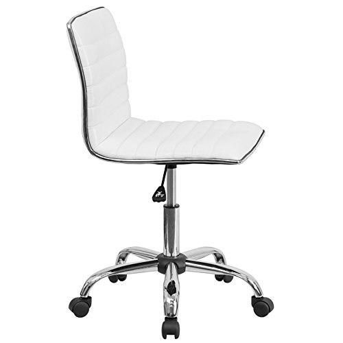 Flash Furniture Low Back Designer Armless White Ribbed Swivel Task Chair