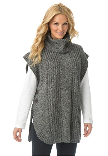 Women's Plus Size Sweater, Poncho Style With Cowl Neck Heather Grey Heather