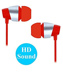 Premium 3.5mm In Ear Bud Stereo Earphones Headset Compatible For Reliance Jio LYF Wind 5 -Red