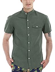 Zobello Men's Madarin Collar Linen Shirt(11087I_Army Green_X-Large)