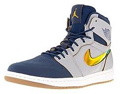 Nike Jordan Men\'s Air Jordan 1 Retro High Nouv Wlf Grey/Gld Lf/Frnch Bl/White Basketball Shoe 8.5 Men US
