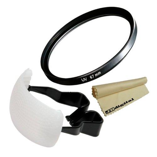 67Mm Uv Ultra-Violet Protection Filter For 67Mm Canon T4I T3I T2I T1I Xt Xti Xsi 60D 7D + White Pop-Up Flash Diffuser + Super Fine Jb Digital Microfiber Cleaning Cloth