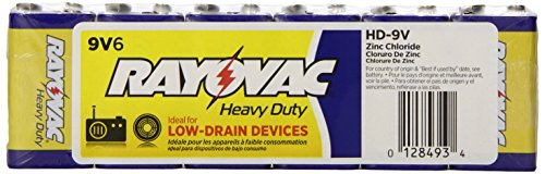 Rayovac Size 9V Heavy Duty Batteries, HD-9VD, 6-Pack by Rayovac (English Manual)