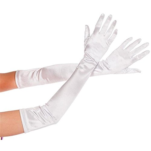 BeOne®Fashion Satin Long Gloves Opera Wedding Bridal Evening Party Prom Cosplay Costume Gloves (White)