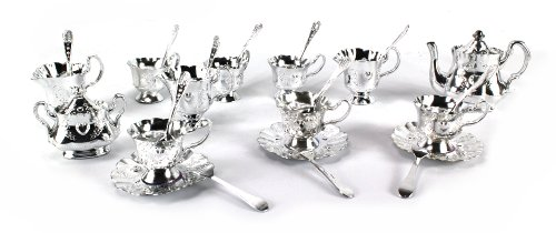 Modern Deluxe Teacup Toy Tea Play Set W/ 6 Cups, 3 Saucers, Tea & Sugar Pots, 3 Creamers, 6 Spoons, 6 Forks (Colors May Vary)