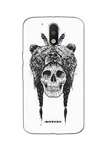 iSweven printed MOTOG4P_3137 Skull Wearing Bear Design Multicolored Matte finish Back case cover for Motorola MOTO G4 PLUS