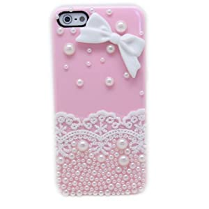 Fashion Pink Elegant Lace Pearls&Bow Hard Case Cover Skin For iPhone5