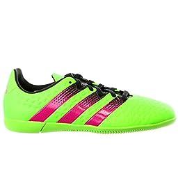 adidas Performance Ace 16.3 IN J Soccer Shoe (Little Kid/Big Kid),Green/Shock Pink/Black,6 M US Big Kid