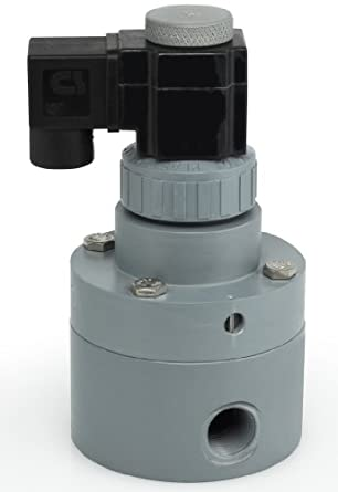 Plast-O-Matic PS Series PVC Pilot Solenoid Valve, For Acids and Highly Corrosive Liquids, 2 Ways, Normally Closed, Viton Diaphragm, NPT Female