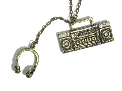 Boombox Stereo Necklace 80S Retro Hip Hop Ni07 Music Dj Charm Pendant Crystal Fashion Jewelry