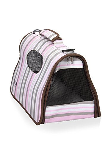Pet Life Airline Approved Folding Zippered Cage Pet Carrier Stripe Pattern