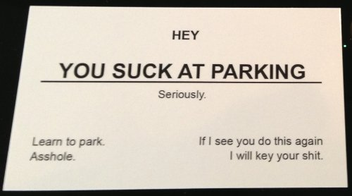 You Suck At Parking Business Cards (10-pack) - Double Sided Message!