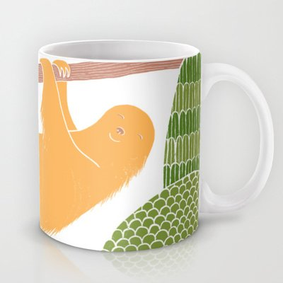 Society6 - Sleepy Happy Sloth Coffee Mug By Pigeon