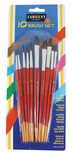 Sargent Art 56-6010 10-Count Peggable Natural Hair Brush Assortment
