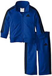adidas Baby Boys\' Iconic Tricot Jacket and Pant Set, Blue/Black, 18 Months