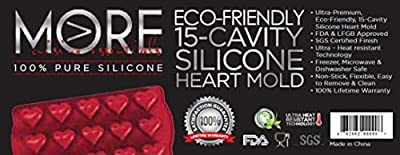More Cuisine Essentials BG -1107 - RB, Eco-Friendly 15 - Cavity Silicone Heart Mold for Making Homemade Chocolate, Candy, Gummy, Jelly, and More, Burgundy Wine
