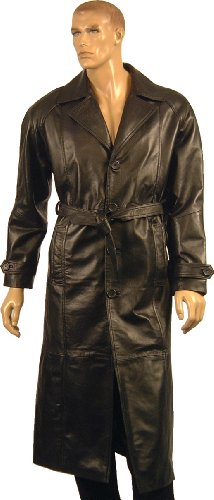 Mens Black Full Length long 100% Real Genuine Leather Trench Coat Military Gothic Steampunk Belted Style Jacket Size - S / 38