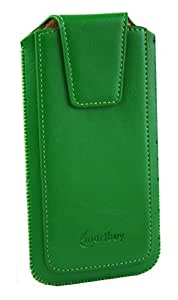 Emartbuy® Sleek Range Green PU Leather Slide in Pouch Case Cover Sleeve Holder ( Size LM2 ) With Pull Tab Mechanism Suitable For Vodafone Smart Turbo 7