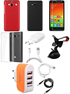 NIROSHA Tempered Glass Screen Guard Cover Case Charger USB Cable Mobile Holder car Combo for Xiaomi Redmi 2s Combo