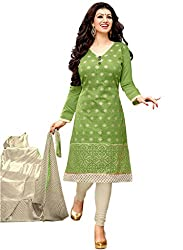 Decent World Green Chanderi Cotton Special Occasion Dress Material