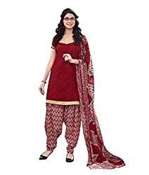Rudra Textile Women's Maroon Cotton Punjabi Suit
