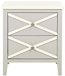 Safavieh American Homes Collection Sherrilyn 2-Drawer Side Table, Grey