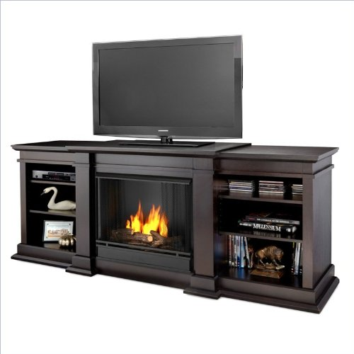 Discover Bargain Real Flame Fresno Ventless Gel Fireplace in Dark Walnut
