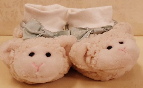 Plush Baby Booties - Little Lamb with Bow - Slipper shoes Boy or Girl 6- 12 month