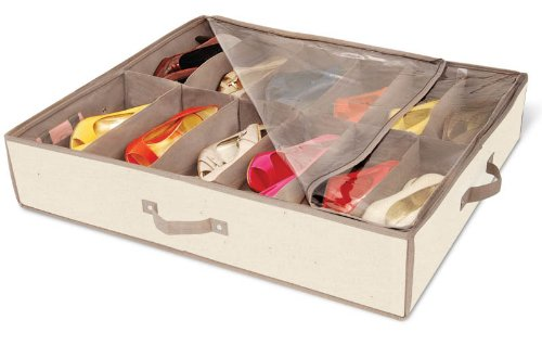 DAZZ Underbed Shoe Storage with Cedar, Natural Canvas
