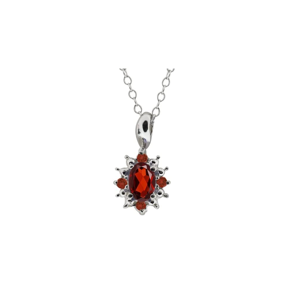 0.63 Ct Oval Red Garnet and Cognac Red Diamond Sterling Silver Pendant