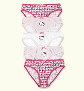 5 Pack - Older Girls&#39; Pure Cotton Hello Kitty Assorted Briefs